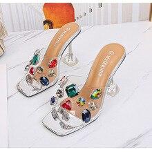 MAIERNISI Summer New Women Shoes Square Toe Rhinestone Sandals Diamante High Heels Peep Toe Ladies Shoes Silver Gold Black