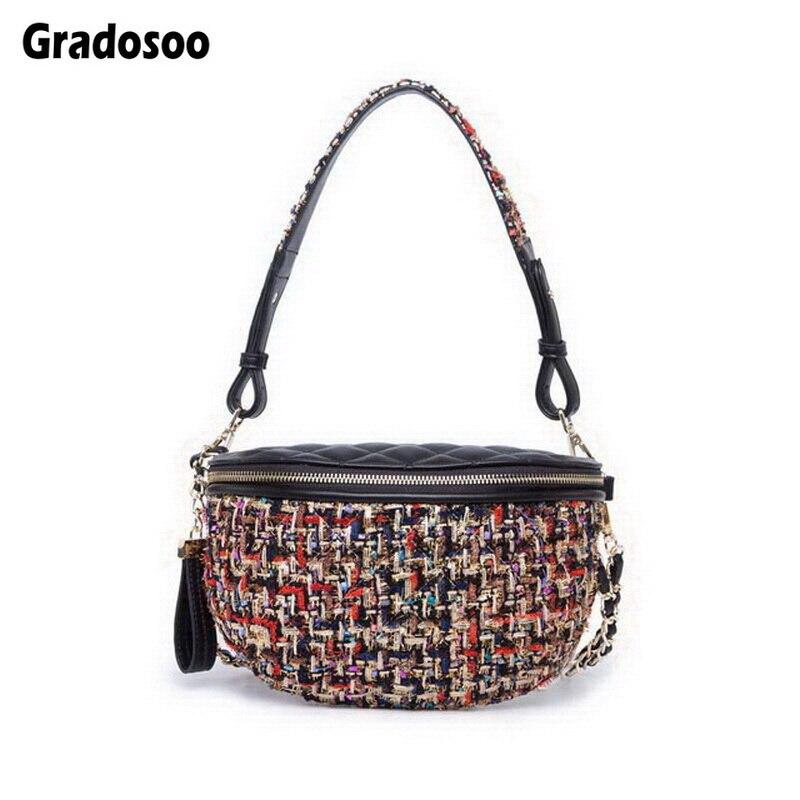 Gradosoo Multi Use Tweed Knit Plaid Waist Bags New Fanny Packs Fashion Chain Crossbody Bag Women Vintage PU Belt Bag Belly A003