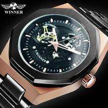 WINNER Steampunk Military Automatic Watch Men Stainless Steel Strap Skeleton Mechanical Watches Brand Luxury Army Male Clock NEW winner men s wrist automatic mechanical watch men top brand luxury clock business army watches sport military clocks gift 122