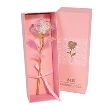 Valentine's Day Gift 24K Foil Plated Rose LED Gold Rose Lasts Forever Love Wedding Decor Lover Lighting Rose Pink Box Package