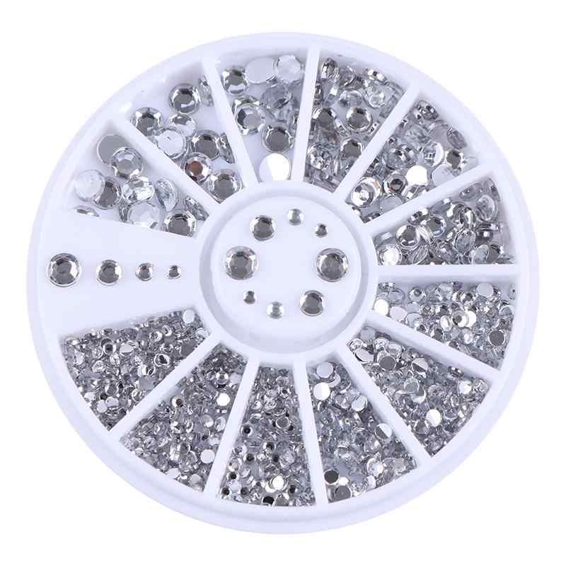Clou strass or argent mélangé coloré cristal clous à ongles ongles perles 3D Nail Art décorations ongles accessoires dans la roue