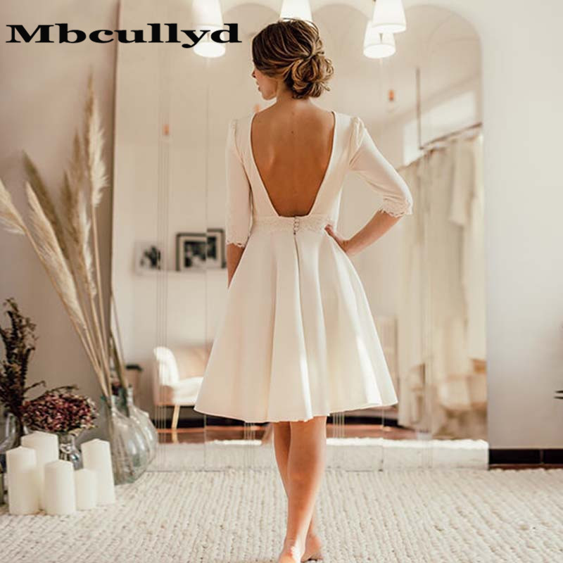 Mbcullyd 2020 Ivory Short Wedding Dress Open Back Crepe Knee Length Bridal Dresses Half Sleeves Robe De Mariage