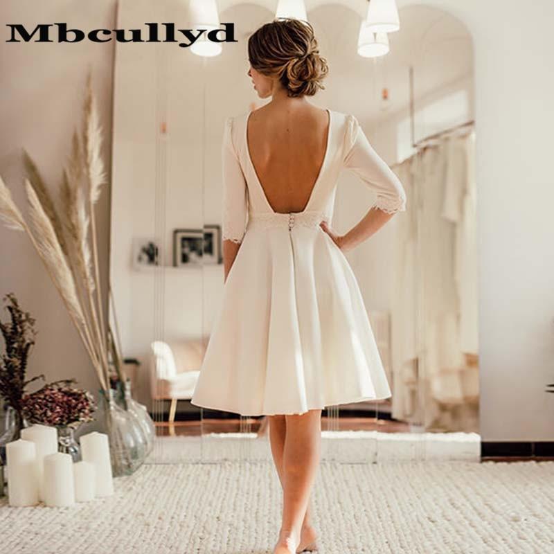 Mbcullyd 2020 Ivory Short Wedding Dress Open Back Crepe Knee Length Bridal Dresses Half Sleeves Robe De Mariage
