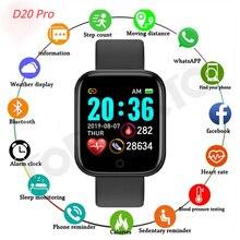 Умные часы D20 с Bluetooth, мужские водонепроницаемые спортивные Смарт-часы с фитнес-трекером, смарт-браслет с монитором кровяного давления и сер...