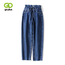 GOPLUS Blue High Waist Jeans Woman Denim Trousers Lace Up Vintage Pants 2019 Spring Fall Tie Women Wide Leg C7417