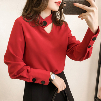 New Spring 2020 New Fashion Women Shirts Long Sleeve Office Blouses Chiffon Hollow Out Slim V Neck Blouse Shirt Pink Casual 51H pink hollow design cold shoulder long sleeves blouses