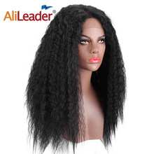 Alileader 24Inch Long Kinky Straight Swiss Front Wig Hair Heat Resistant Synthetic Black Violet Afro Puff Yaki Front Lace Wigs(China)
