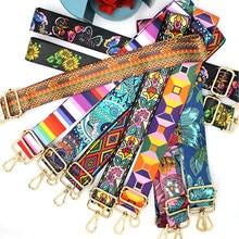 Sangle de sac en Nylon/coton pour femme, bretelles colorées pour sac à bandoulière, accessoires de sac à bandoulière, ceintures brodées réglables