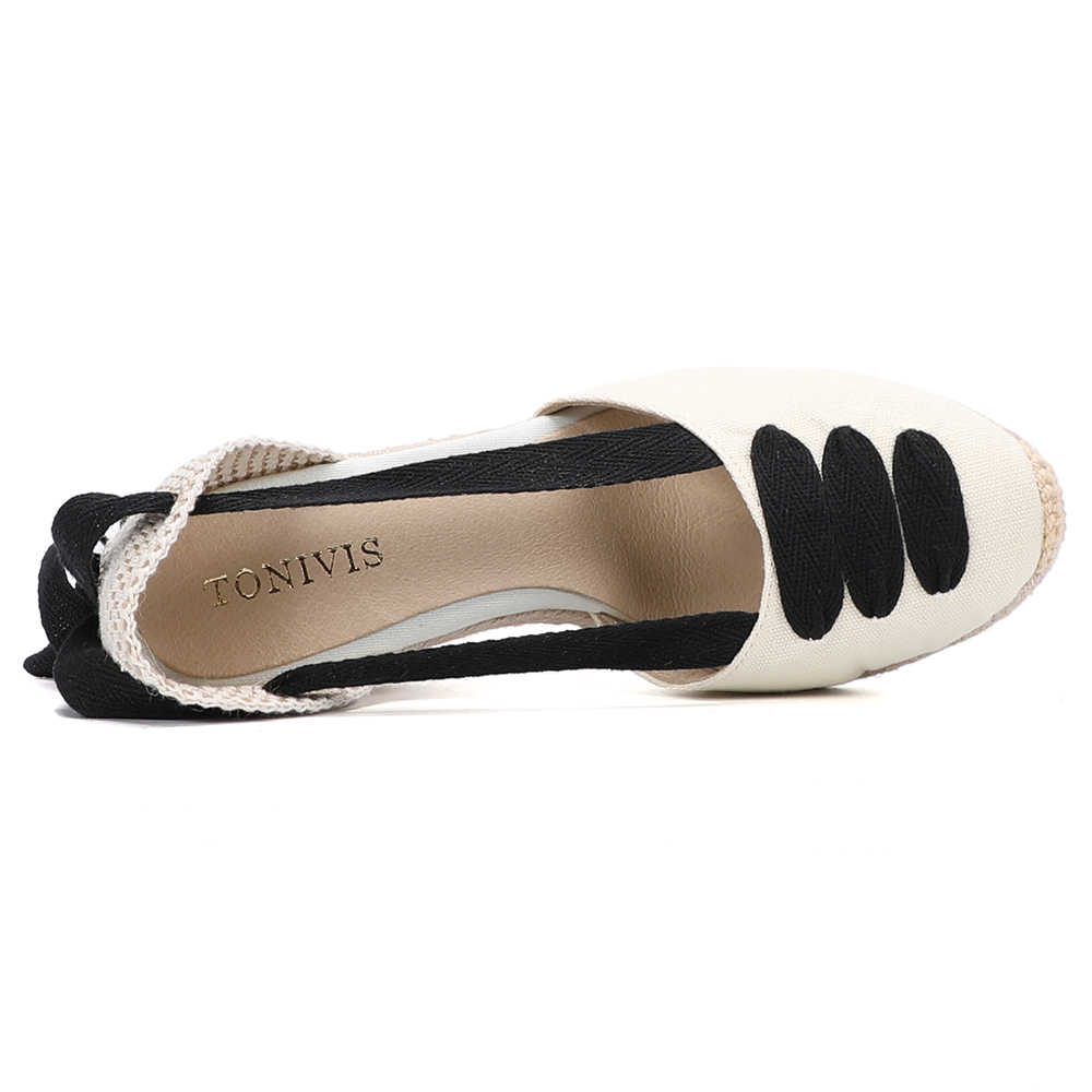 Kadın kama Espadrille ayak bileği kayışı sandalet rahat terlik bayanlar bayan rahat ayakkabılar nefes keten kenevir tuval pompaları