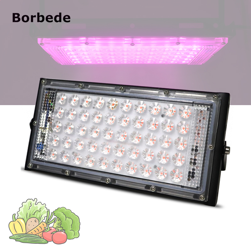 Borbede Led Grow Light Plant Light 50W Full Spectrum For Greenhouse Vegetable Flower Indoor Plants Grow Light