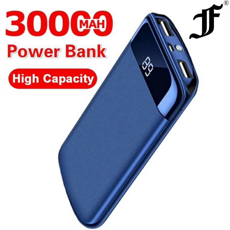 Voor Xiaomi Samsung Iphone Xs 30000Mah Power Bank Externe Batterij Poverbank 2 Usb Led Powerbank Draagbare Mobiele Telefoon Oplader