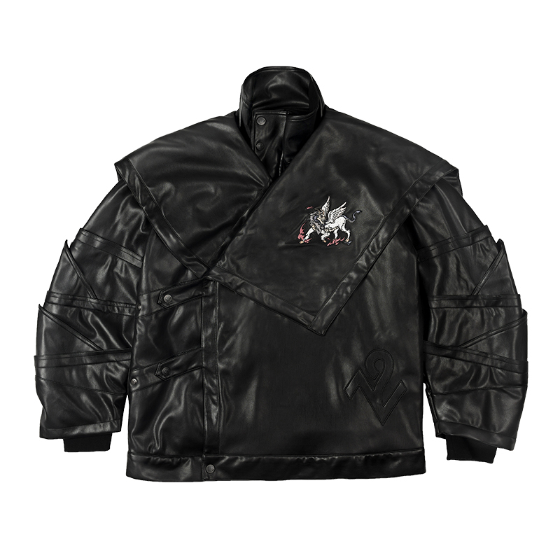 Wookong 2019 Autumn/winter New In Unisex Jacket Leather Tide Beast Baize Embroidery Reloading Men Biker Jacket