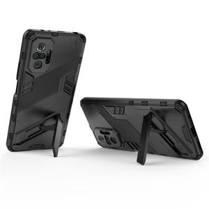 Image 5 - עבור Xiaomi Redmi הערה 10 פרו מקרה כיסוי עבור Xiaomi Redmi הערה 10 פרו מגן כיסוי פאנק שריון מעטפת Kickstand טלפון מקרה קאפה
