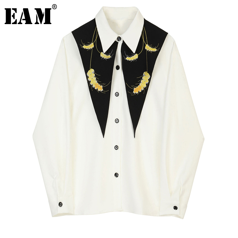 [EAM] Women White Pattern Print Spliced Blouse New Lapel Long Sleeve Loose Fit Shirt Fashion Tide Spring Autumn 2020 JZ225