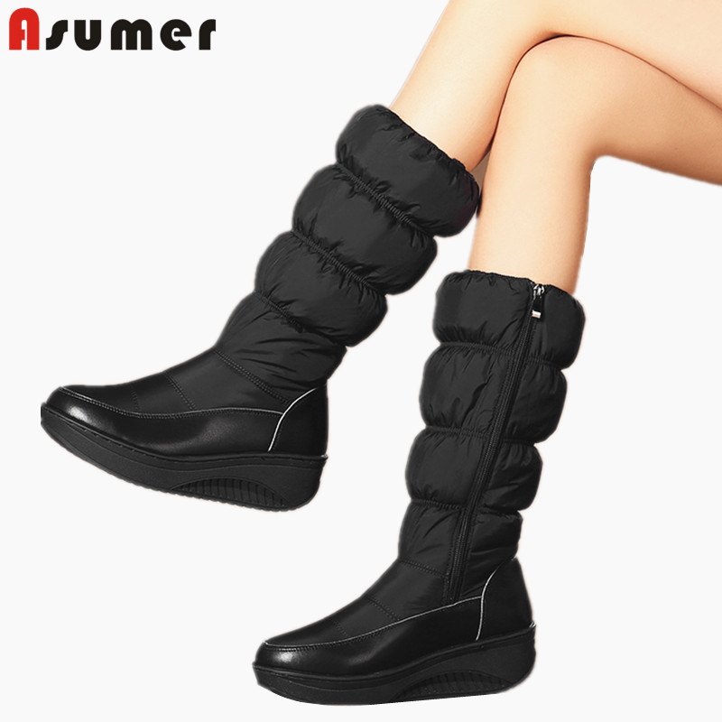ASUMER Winter Boots Shoes Wedges Female Blue White Women Zipper Warm Black Platform Plus-Size