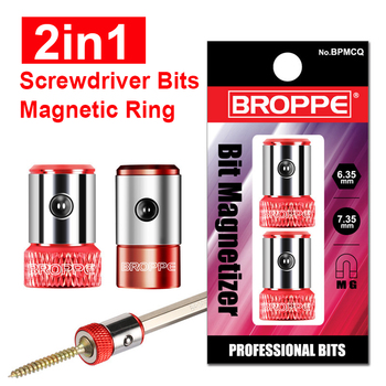 2in1 Screwdriver Bits Magnetic Ring 1/4 6.35mm and 1/3 7.35mm Metal Strong Magnetizer Screw ootdty magnetic ring 1 4 6 35mm metal strong magnetizer screw electric phillips screwdriver bits
