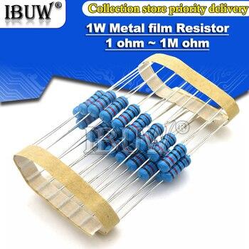 20 шт. 1 Вт металлический пленочный резистор 1% 1R ~ 1M 2R 10R 22R 47R 100R 330R 1K 4,7 K 10K 22K 47K 100K 330K 470K 1 2 10 22 47 100 330 Ом