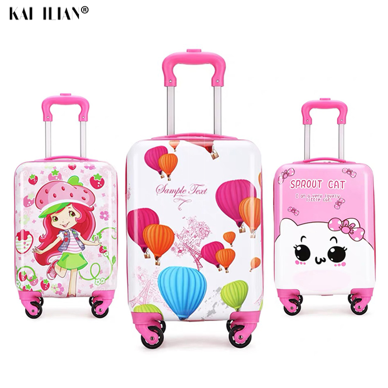 18.5 Inch Kids Cartoon Suitcase On Wheels Children's Trolley Rolling Luggage PC Girls Travel Cabin Suitcase Cute Luggage For Kid