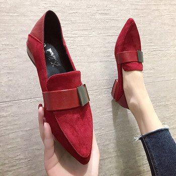 Red Black Flock Flats Shoes Women 2020 Pointed Toe Shallow Single Shoes Fashion Women Loafers Slip on Shoes for Women