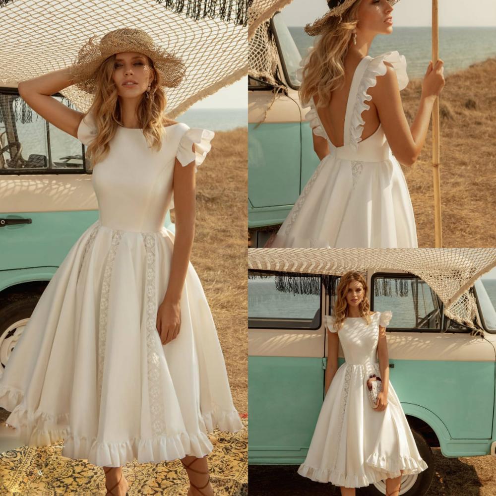 2020 Country Short Wedding Dresses Ruffles Cap Sleeve Lace Bohemian Handmade Bridal Wedding Gowns Vestido De Noiva