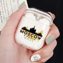 Kremlin Luxury Transparent Hard Case For Apple Airpods Moscow Landmark Clear Headphone Protective Cover Cases