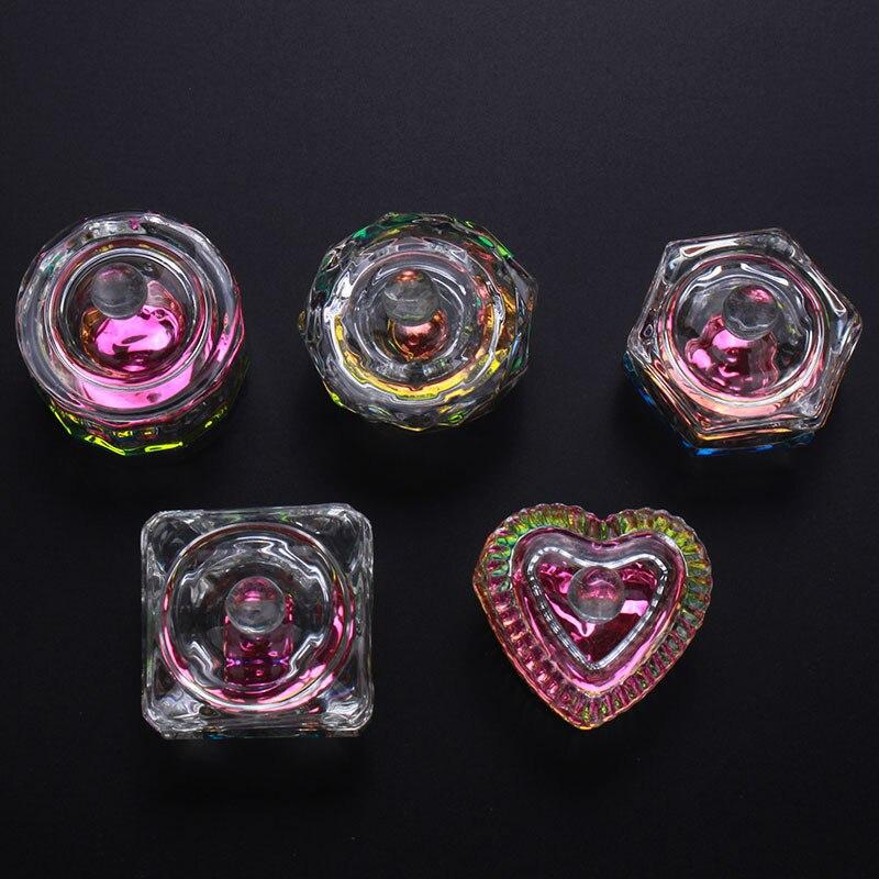 1 adet kristal cam çanak bardak tırnak sanat fondöten çok şekiller tırnak kristal kiti akrilik toz bulaşık tırnak sanat konteyner MN78