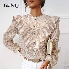 Shirt Tops Women Blouses Lace Blusas Long-Sleeve Neck Ruffles Vintage Hollow-Out Elegant