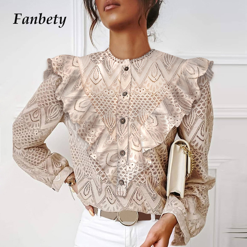 Autumn Elegant Lace Women Blouses Shirt Fashion New Ruffles Long Sleeve Shirts Tops Office Lady Vintage O Neck Hollow Out Blusas