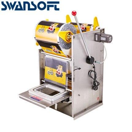 SWANSOFT main presse boîte carrée Machine d'emballage en acier inoxydable électrique semi-automatique PVC/animal de compagnie/PP boîte en plastique machine de cachetage