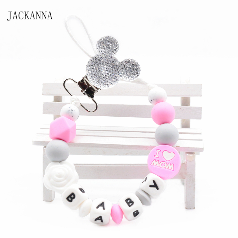 Customized Name Baby Pacifier Clips Mouse Head Dummy Chain Newborn Attache Sucette Baby Gift Silicone Baby Pacifier Holder Chain