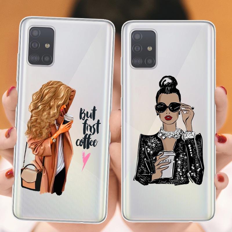 Mode Schwarz Braun Haar Baby Mama Mädchen Weiche Telefon Fall Für Samsungs galaxys S7 Edeg S8 S9 Plus S10Lite S10 plus silikon Abdeckung