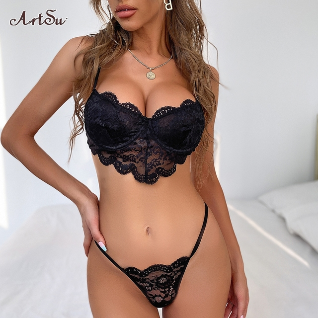 2 Pieces lace bra and panty set women sexy push up bra bodycon intimates lingerie set bralette lace brief set 2