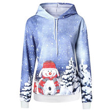 Women Hoodie Christmas Big Pocket Cartoon Snowman Print Long Sleeve Hoodies Sweatshirt Pullover Top Sudadera Mujer(China)