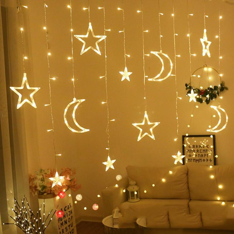220V LED Moon Star Christmas Lights Outdoor Garland String Fairy Curtain Light For Home Holiday Wedding Party Decorations