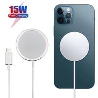 15ワットマグネットワイヤレス充電器usb c pdアダプタポータブル磁気安全な充電器iphone 12プロマックス12プロ12ミニチー急速充電器