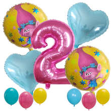 11pcs Trolls Party Balloons Baby Happy Brithday Helium Number