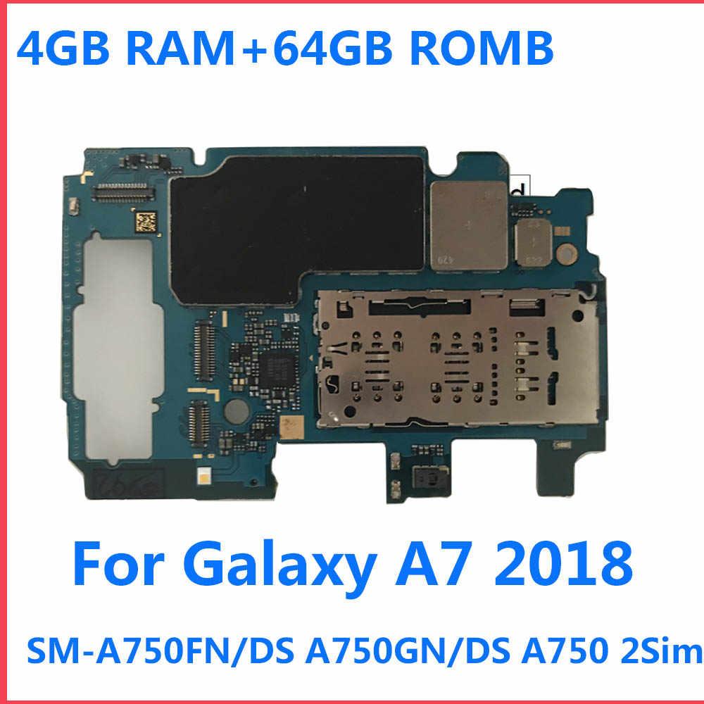 Para samsung galaxy a7 2018 a750f 2 sim a750f/ds a750fn/ds a750gn/ds 64gb desbloqueado mainboard placa mãe lógica placas motherboar