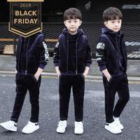Hot 2019 Children's Gold Velvet Thickening Sweater 3 Pcs Set Boys Vest Jacket + Hooded Sweatshirt + Pants Kids Clothes Suit X283