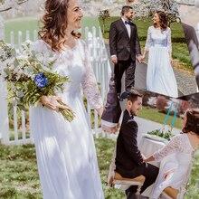 Plus Größe Hochzeit Kleider Elegante A Line Spitze Lange Strand Vintage Braut Kleid mit Hülse Immer Ziemlich EP07412 Vestido de Noiva