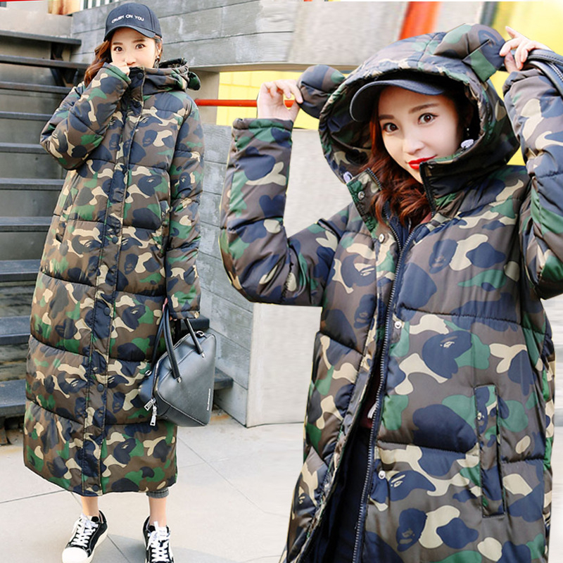 New fashion Winter Jacket Women   Down     Coat   Female Thick   Down   Jacket Woman Long   Coats   Warm printing Clothes
