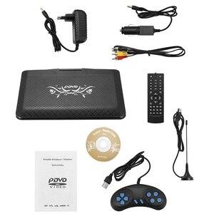 Leitor de dvd portátil de hd, 9.8 polegadas leitor de dvd do carro mini tv compatível com avi evd dvd, svcd, vcd, cd, CD-R/rw av monitor cartão re