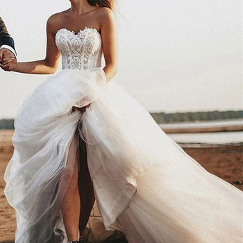 Eightale Ivory A-Line Beach Wedding Dresses Lace Sweetheart Tulle Gown Simple Ball Bridal Dress robe de mariage