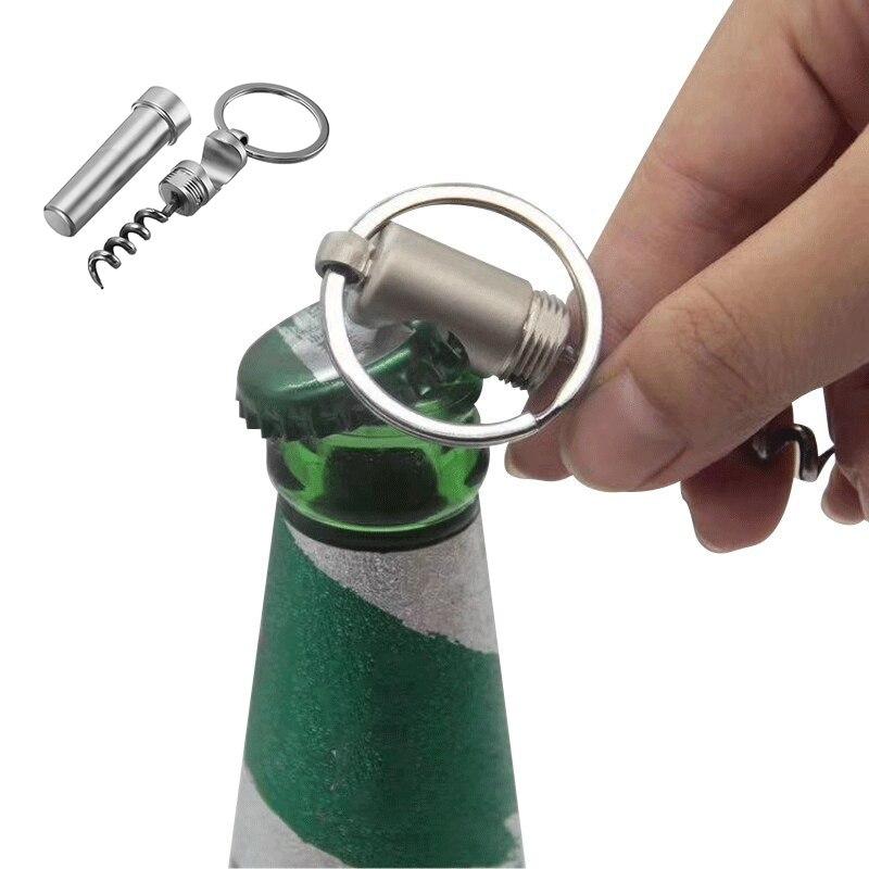 Многофункциональная открывалка для бутылок 3 в 1 из цинкового сплава, брелок, уличная портативная Мини открывалка для бутылок вина, пива, кух...