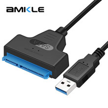 AMKLE USB SATA Cable Adapter USB 3.0 upto 6Gbps Support 2.5 Inches External SSD HDD Hard Drive Sata III(China)