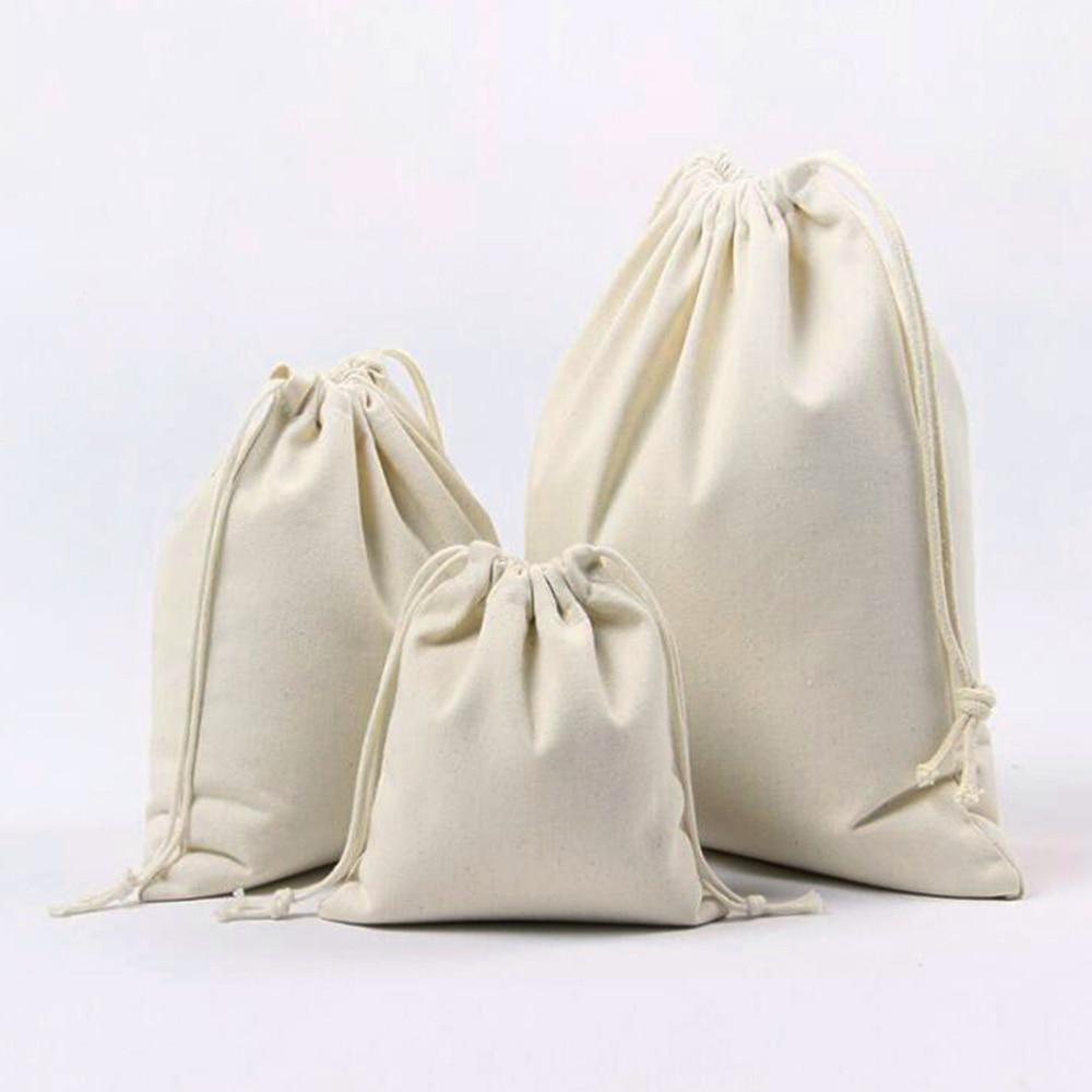 10PC/lot Cotton Drawstring Bag Reusable Shopping Linen Bag Coin Travel Storage Christmas Gift Pouch