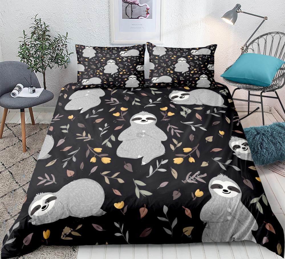 Sloths Bedding For Kids Boys Girls Animals Sleeping In The Forest Bed Set Flowers Leaves Duvet Cover Set Queen Cartoon Dropship