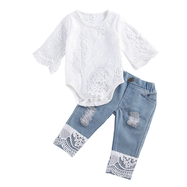 New Fashion 0-24M Baby Girls Fall Clothes Long Sleeve Lace Romper Suit Triangle Crotch Lace Top  Hole Long Jeans 2Pcs Outfit 1