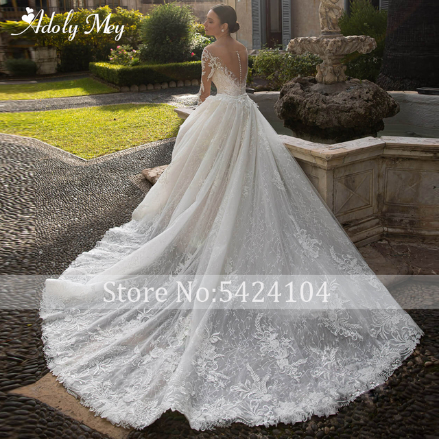 Adoly Mey Gorgeous Appliques Detachable Train Lace Mermaid Wedding Dress 2021 Scoop Neck Beading Long Sleeve Vintage Bridal Gown 2
