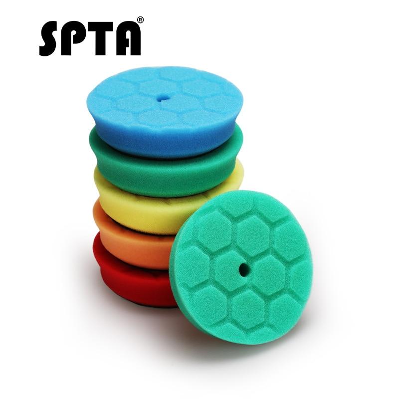 SPTA 3 Inch 90mm Mini Polishing Sponge Car Waxing Pad Auto Polish Wheels Drill Detailing Buffing Dense Foam Automobile Polisher