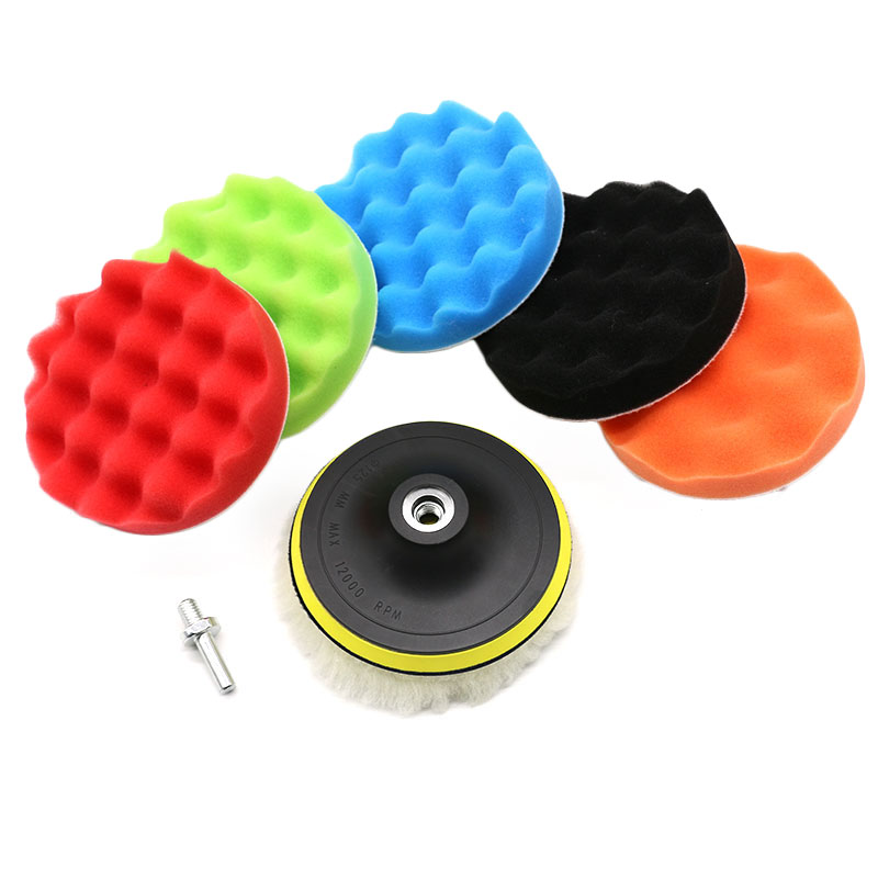 8Pcs Car Polishing Pad 3/4/5/6/7 Inch Sponge Buffing Waxing Boat Car Polish Buffer Drill Wheel Polisher Removes Scratches